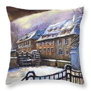 Prague Chertovka Winter 01 Throw Pillow by Yuriy  Shevchuk
