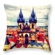 Prague Church Of Our Lady Before Tyn Watercolor Throw Pillow