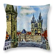 Prague Czech Republic Throw Pillow by Irina Sztukowski