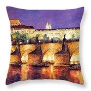 Prague Night Panorama Charles Bridge  Throw Pillow