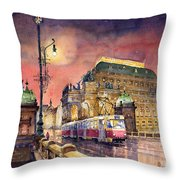 Prague  Night Tram National Theatre Throw Pillow