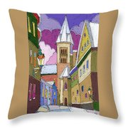Prague Old Street Jilska Winter Throw Pillow