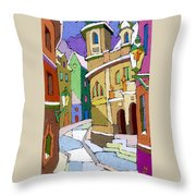 Prague Old Street Karlova Winter Throw Pillow