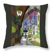 Prague Old Street Mostecka Throw Pillow