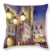 Prague Old Town Square 3 Throw Pillow