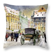 Prague Old Town Square Winter Throw Pillow