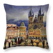 Prague Old Town Squere After Rain Throw Pillow
