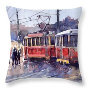 Prague Old Tram 01 Throw Pillow