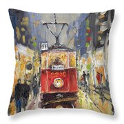 Prague Old Tram 08 Throw Pillow