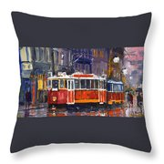 Prague Old Tram 09 Throw Pillow
