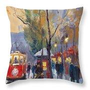 Prague Old Tram Vaclavske Square Throw Pillow