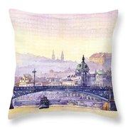 Prague Panorama Chehuv Bridge Throw Pillow
