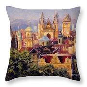 Prague. Roofs. Throw Pillow