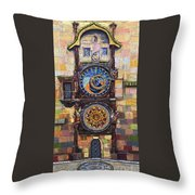 Prague The Horologue At Oldtownhall Throw Pillow