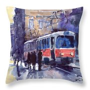Prague Tram 02 Throw Pillow