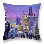 Prague Winter Charles Bridge 3 Throw Pillow