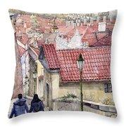 Prague Zamecky Schody Castle Steps Throw Pillow by Yuriy  Shevchuk