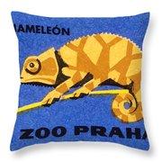 Prague Zoo Chameleon Matchbox Label Throw Pillow