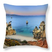 Praia Do Camilo At Sunset  Throw Pillow