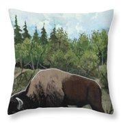 Prairie Bison Throw Pillow