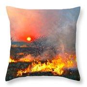 Prairie Burn Sunset In Kansas Throw Pillow
