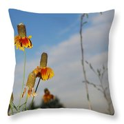 Prairie Cone Flowers Against Blue Sky Vertical Number Two Throw Pillow