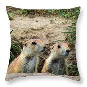 Prairie Dog Family Throw Pillow