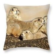 Prairie Dog Family Portrait Throw Pillow