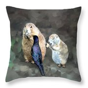 Prairie Dogs And A Bird Eating Throw Pillow