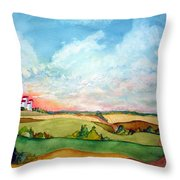 Prairie Grain Elevators Throw Pillow