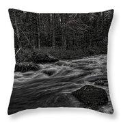 Prairie River Whitewater Black And White Throw Pillow