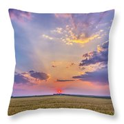 Prairie Sunset With Crepuscular Rays Throw Pillow