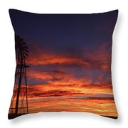 Prairie Sunset With Windmill Throw Pillow