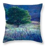 Prairie Trees Impressionistic Grunge Throw Pillow