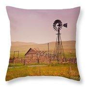 Prairie Windmill Throw Pillow