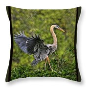 Prancing Heron Throw Pillow