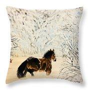 Prancing Through The Snow Throw Pillow