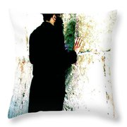 Praying At The Western Wall - Jerusalem Israel Throw Pillow