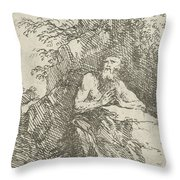 Praying Male Penitent In The Wilderness Throw Pillow