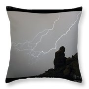 Praying Monk Lightning Striking Poster Print Throw Pillow by James BO  Insogna