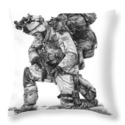 Praying Soldier Throw Pillow