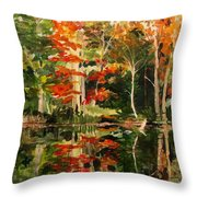 Prentiss Pond, Dorset, Vt., Autumn Throw Pillow