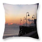 Pre-sunrise On Daytona Beach Pier   Throw Pillow