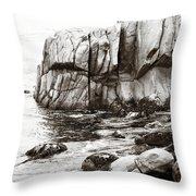 Precarious At Pebble Beach Throw Pillow