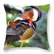 Preening Duck Throw Pillow