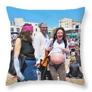 Pregnant Pirate Throw Pillow