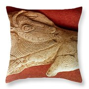 Prehistoric Bison Carving Throw Pillow