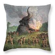 Prehistoric Mammoth Hunt Throw Pillow