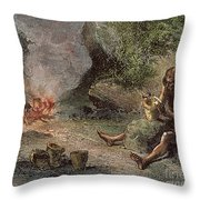 Prehistoric Man: Pottery Throw Pillow