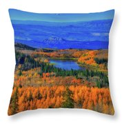 Prelude In Gold And Blue Throw Pillow